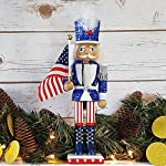 Christmas Holiday Wooden Nutcracker Figure Soldier Uncle Sam with USA Patriotic Red, White, and Blue Uniform Jacket, Large,, 12 inch