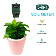 3-in-1 Soil Tester Kits, Moisture Soil Meter Sensor, Sunlight PH and Acidity Tester for Lawn Garden Plant Farm Indoor and Outdoor (No Battery needed) (Green)