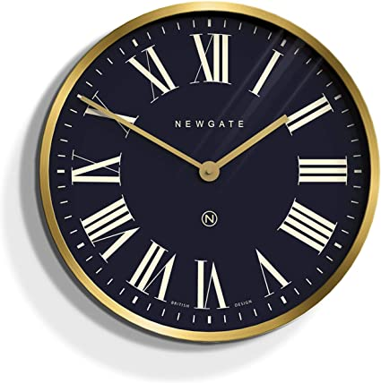 Newgate Mr Butler Large Metal Wall Clock 45cm Gold Blue Roman Dial Amazon Co Uk Kitchen Home