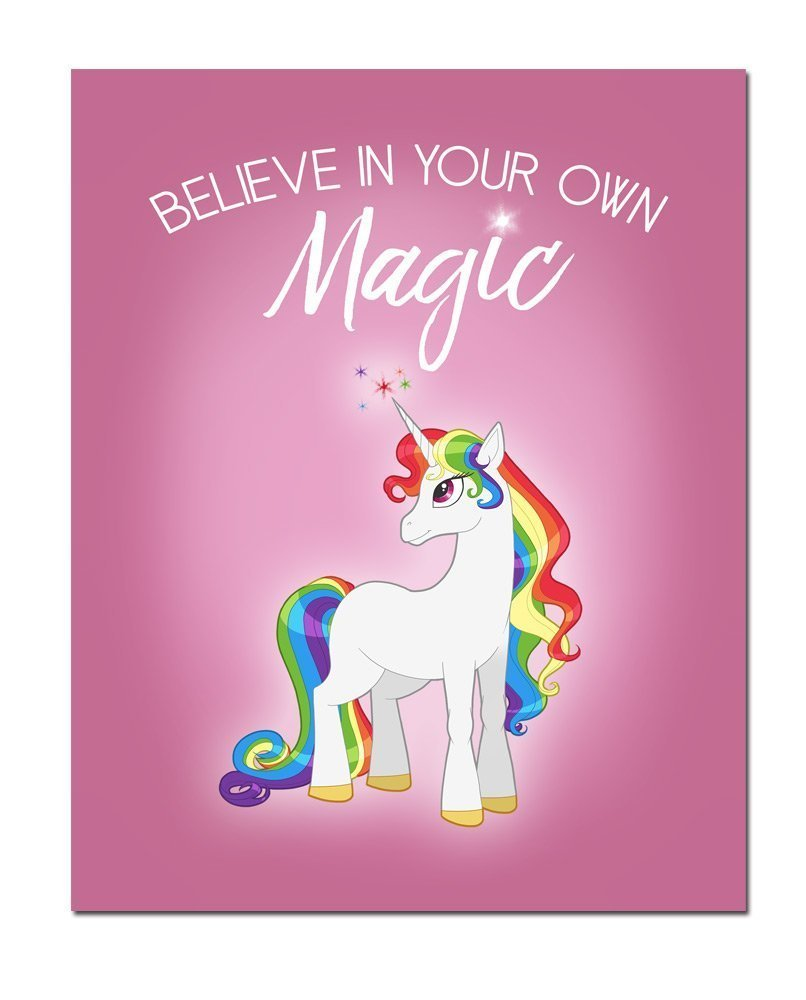Inspirational Rainbow Haired Unicorn with Pink Background 8x10 Art Print 3
