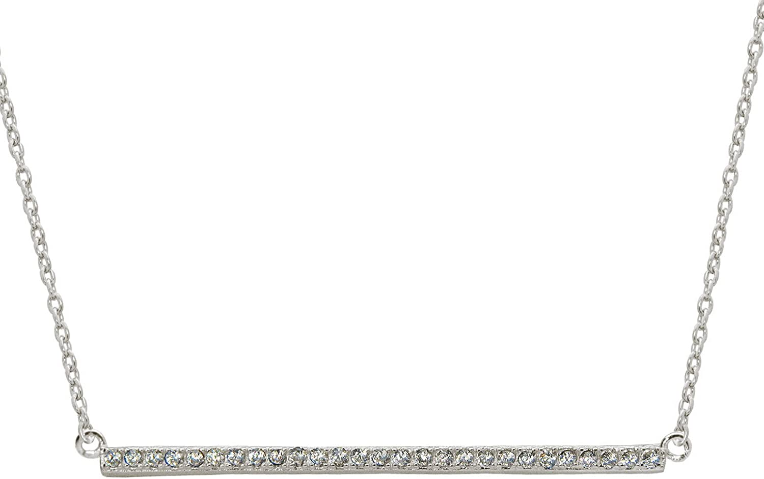 FRONAY Sterling Silver Two Tone Cubic Zirconia Sideways Bar Necklace Boutique Jewelry