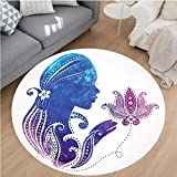 Nalahome Modern Flannel Microfiber Non-Slip Machine Washable Round Area Rug-s Silhouette with Flowers on Her Hair Floral Ornaments Meditation Spa Artwork Purple Blue area rugs Home Decor-Round 36''