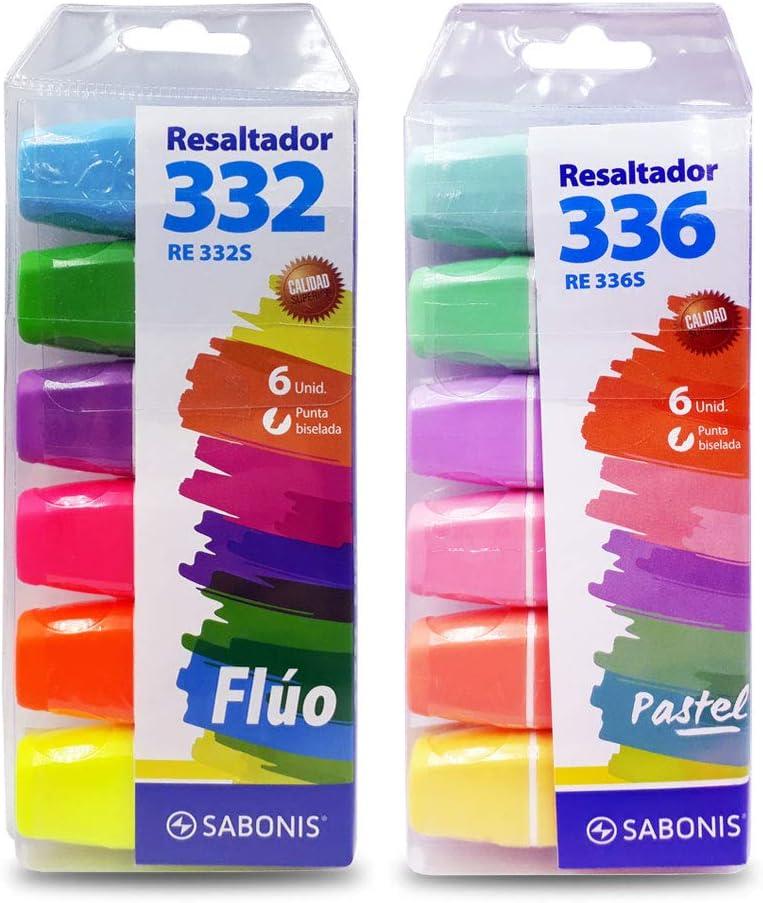 paquete de seis marcadores resaltadores de texto sabonis fluo pastel