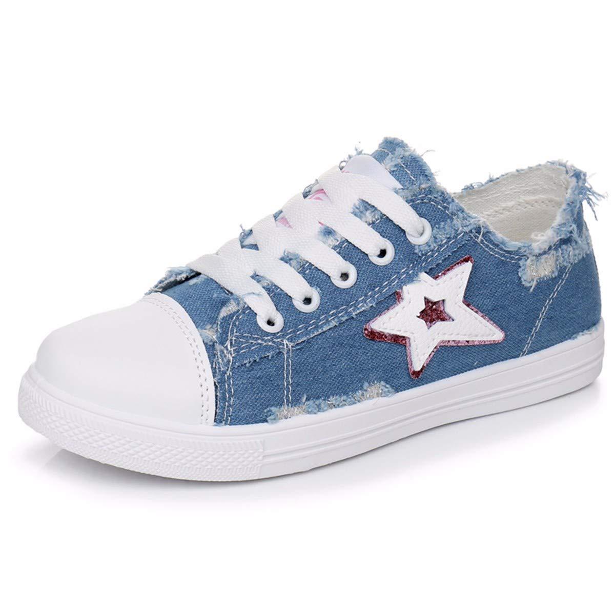 GTVERNH Damenschuhe Mode Löcher Jeans Leinwand Schuhe Studenten - Vorstand Schuhe Im Frühling und Sommer Einzelne Schuhe Spitzen Sportschuhe Damenschuhe.