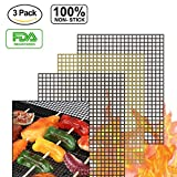 accmor BBQ Grill Mesh Mat Set of 3, Non-Stick Teflon Cooking Grilling Sheet Liner Fish Vegetable Smoker Grill Mats - Works on Gas, Charcoal, Electric Barbecue 15.75x13inch(2 Black+ 1 Copper)