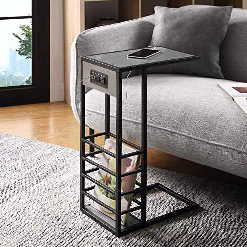 Alder Black Base C Table, Magazine Holder, USB, Plug, Grey/Black