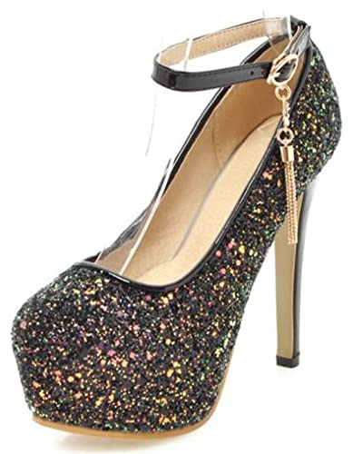 f7a0887df82c IDIFU Women's Glitter Sequins Platform Spikes Stiletto Heels Buckle Pumps  Shoes with Ankle Strap (Black