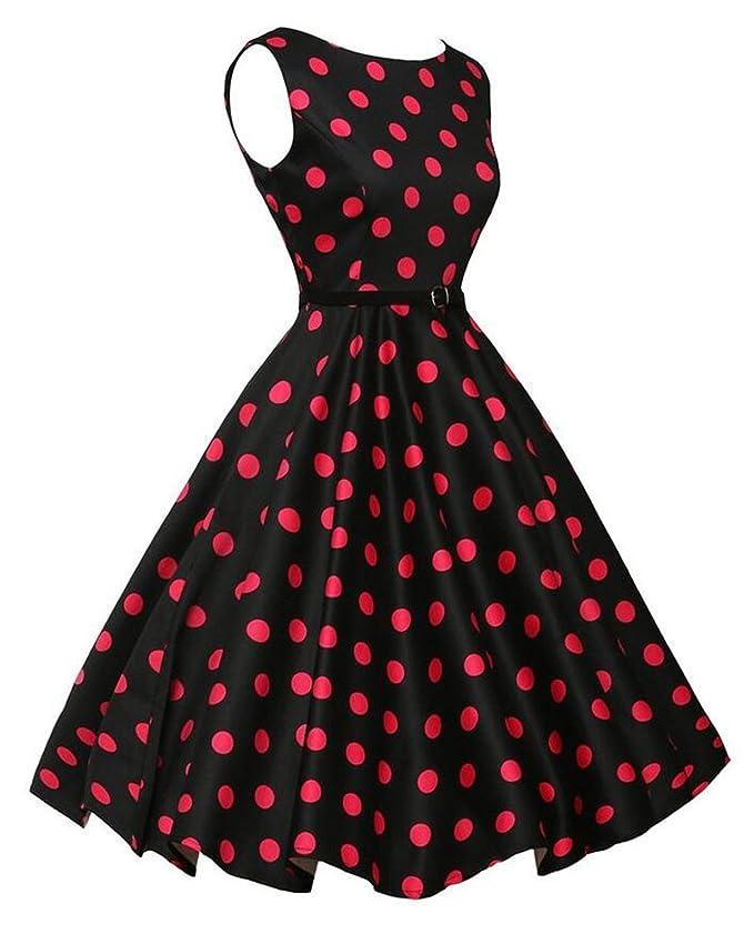 Mujer Hepburn Vintage Lunares Cintura Alta Sin Mangas Vestidos Fiesta Cóctel Pin Up Swing Vestido De Cuello Redondo Vestido De Noche: Amazon.es: Ropa y ...