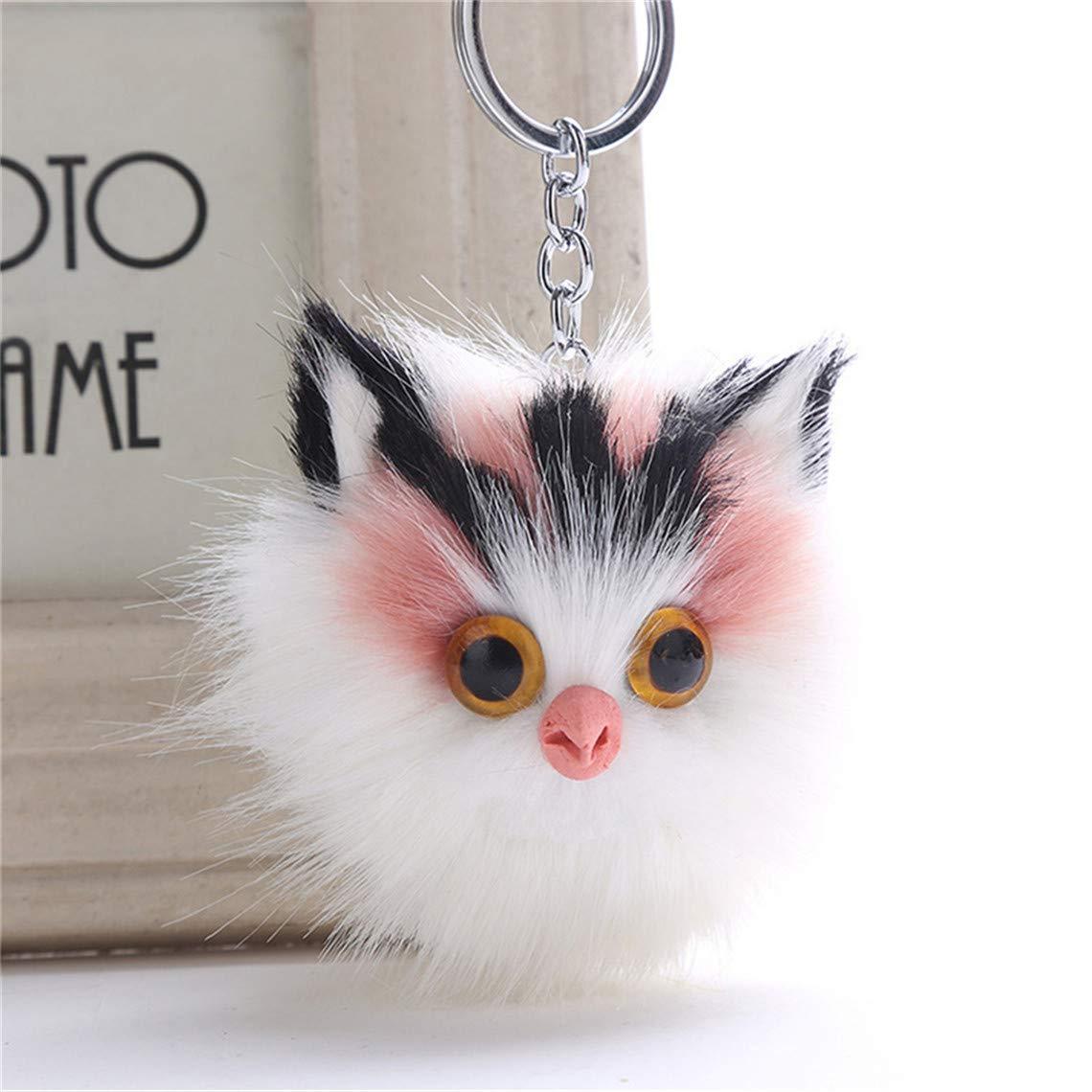 Rurah かわいいふわふわの猫 プラッシュペンダント キーチェーン 人工ウサギ ヘアメタルキーリング レディース ぬいぐるみバッグ キーペンダント オーナメント As description Rurah  Bean paste pink B07JC61P47