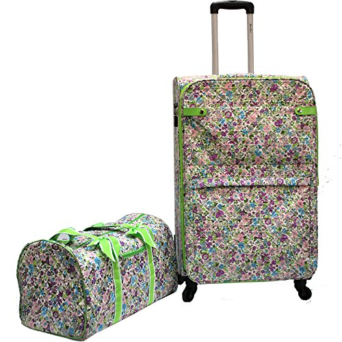 Quilted Floral Lightweight Luggage Size 28″ & Carry-on Duffel Bag (2pc/set) (Purple Flower) Review