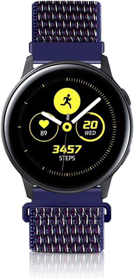 20mm Liberación Rápida Correa De Reloj De para Samsung Galaxy Watch 42mm/Active2 44mm 40mm /Gear Sport/Gear S2 Classic/Garmin Vivoactive 3, Nylon Deporte Bandas Reemplazo Pulsera De (20mm, Índigo)