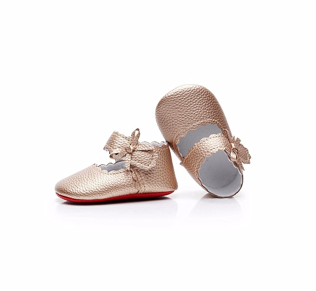 AliveGOT Newborn Baby Girls Soft Sole Mary Jane Wave Bowknot Shoes Sneakers