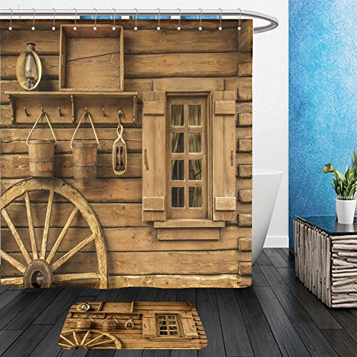 Funny Wild West Costume Ideas (Vanfan Bathroom 2?Suits 1 Shower Curtains & ?1 Floor Mats Detail of old wagon wheel next to a wooden wild west typical house_29460825 From Bath room)