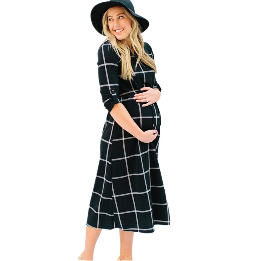 TOOPOOT Summer Pregnants Dress,Sexy Baby for Maternity, Baby Nursing Photography Plaid Short Sleeve Dress (S, Black)