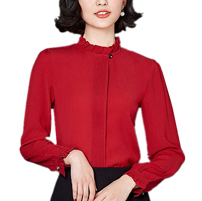 1940s Blouses and Tops  Blouse Stand Collar Long Sleeve Spring Chiffon Shirt Tops Work Formal $22.99 AT vintagedancer.com
