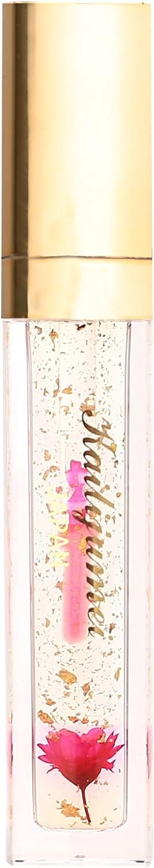 カイリジュメイ kailijumei フラワー リップグロス フラワー入りリップ 日本正規品 かわいい プレゼント 美容液 ナイトリップ 透明 お花 (01透明(金箔))