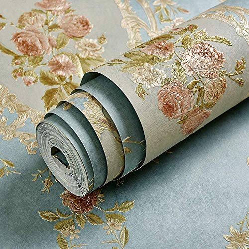 XHHWZB Victorian Damask Embossed Textured Wallpaper, Non-Woven 3D Print Environmental Durable Wallpaper for Home/Kitchen Office (Color : Style ()