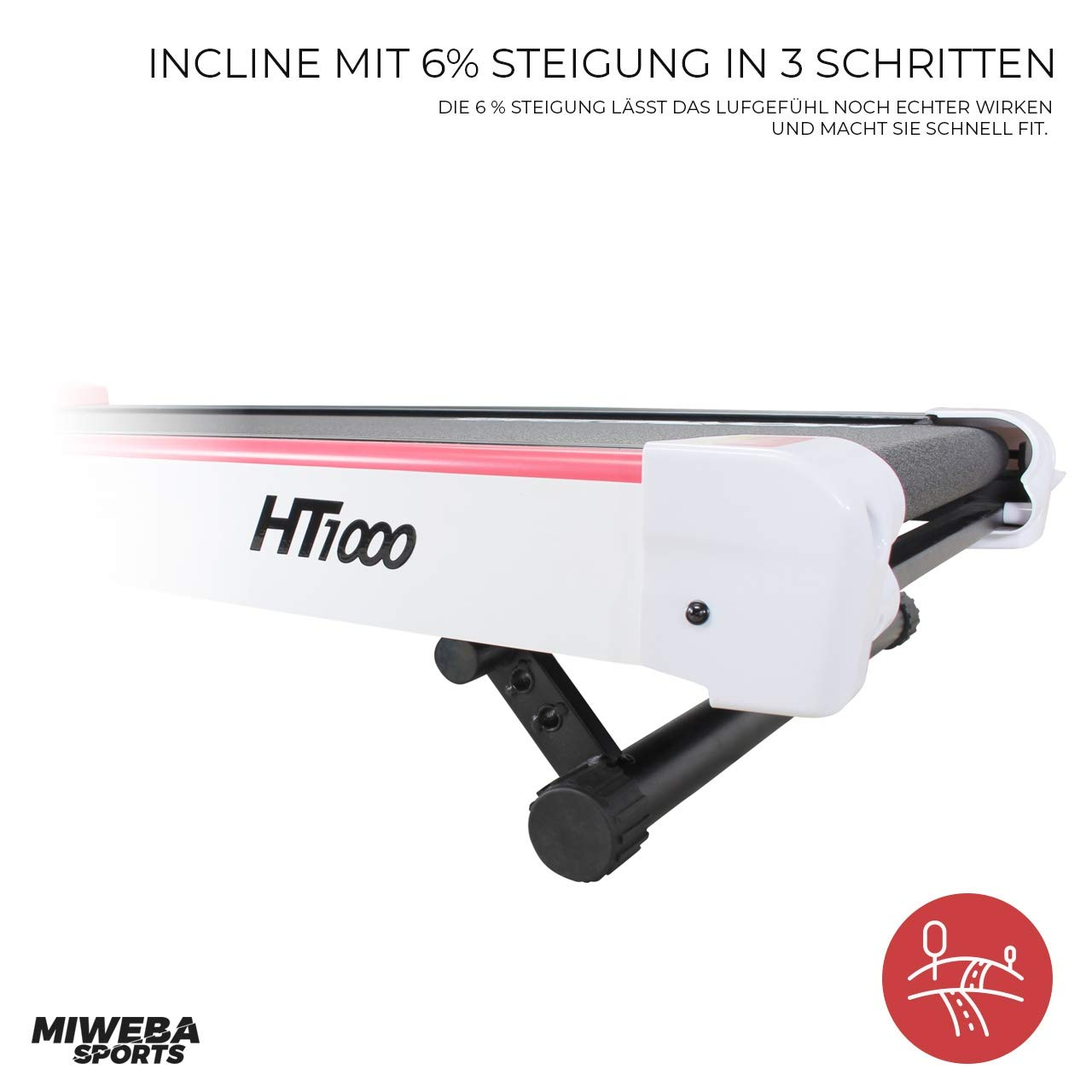 Gro/ße Lauffl/äche HT1000 Rosa Incline 6/% 16 Km//h Miweba Sports elektrisches Laufband Ht1000 Klappbar Tablet Halterung 12+4 Laufprogramme 1,75 Ps