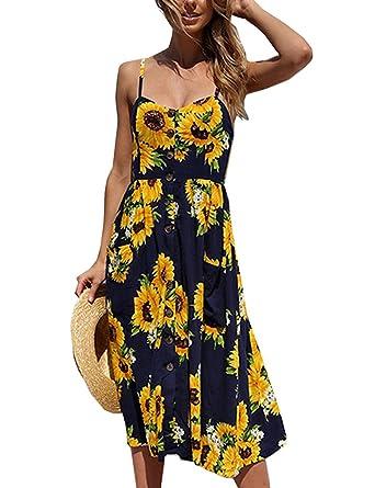 Halife Womens Dresses Summer Floral Spaghetti Strap Button Up Midi ... 1f426c5b2