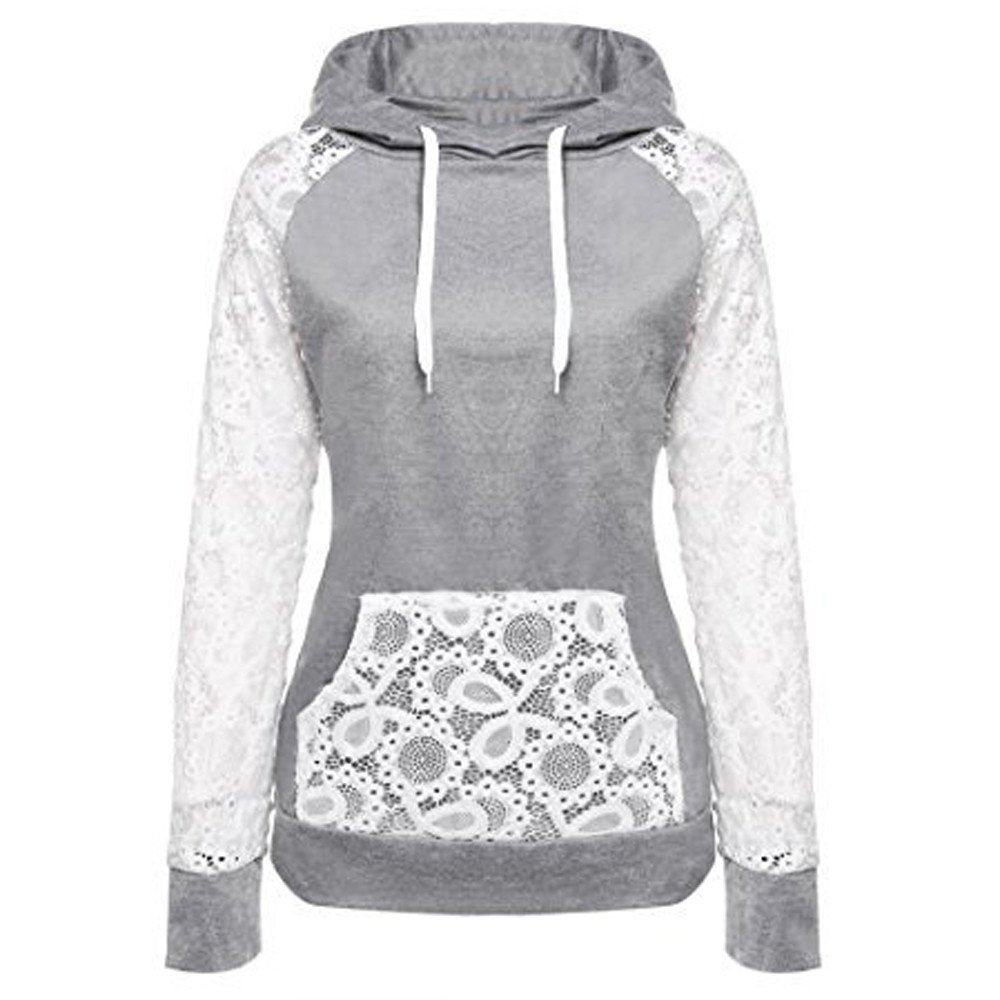 ♡QueenBB♡ Coat Women Sheer Lace Long Sleeve Hooded Patchwork Sweatshirt with Pockets Gray