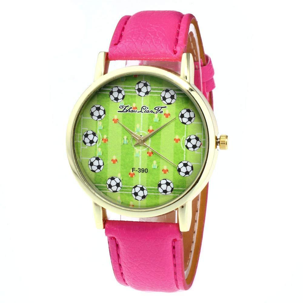 DressLksnf_Reloj Original Moda de Mujer Pulsera Deportiva Banda de Cuero Reloj Cadena Ajuste Elegante Color Puro Simple Estampado de Fútbol Acero Inoxidable ...