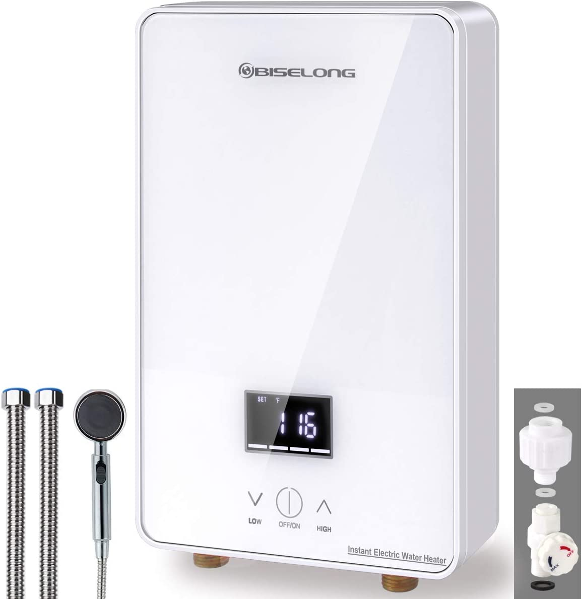 Tankless Water Heater Electric Hot Water Heater, Compact Size Point-of-Use Instant No Standby Losses, Digital Display, with Shower Head/Water Valve/Pipe 1.8GPM 6.5 KW, 220~240V