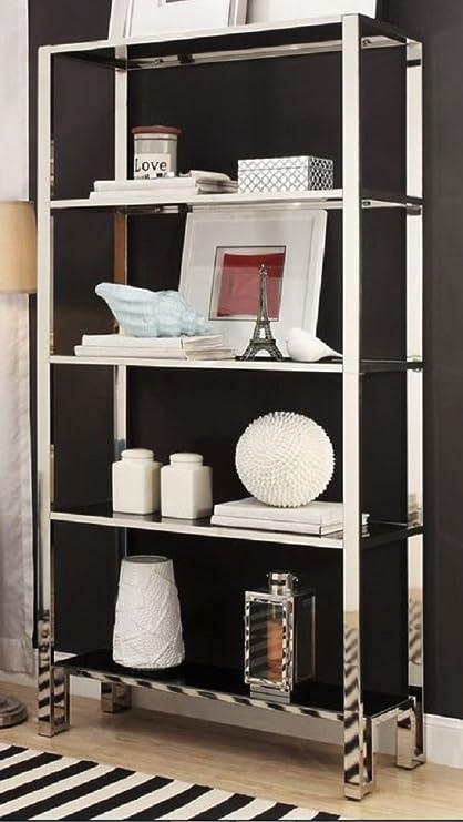 Modern Bookcase Shelves Chrome Black Shelving Unique Bookshelf 100 Satisfaction Guarantee