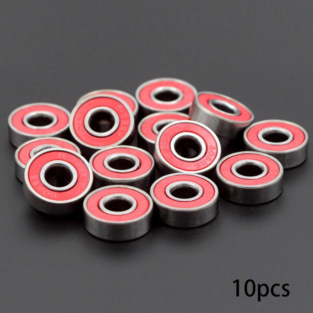 GEZICHTA confezione da 10 cuscinetti skateboard 608 Zz doppia schermatura metallo, 608ZZ 8 x 22 x 7 Greased miniatura cuscinetti a sfera, Red, Taglia libera 608ZZ 8x 22x 7Greased miniatura cuscinetti a sfera