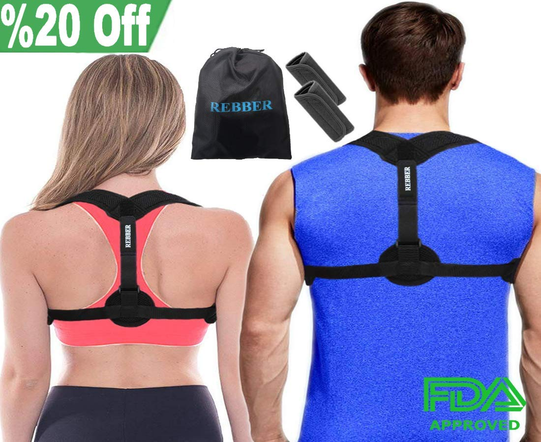 Rebber Posture Corrector for Women and Men - Effective and Comfortable Posture Brace for Slouching & Hunching - Adjustable Clavicle Support