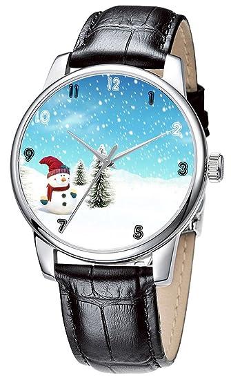 Topgraph Reloj de Cuero Negro Reloj de Pulsera con Diseño de Muñeco de Nieve Feliz 20MM: Amazon.es: Relojes