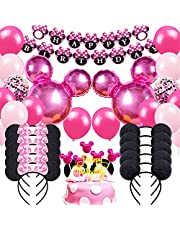 Danirora Minnie Mouse Birthday Party Supplies, Minnie Mouse Party Decorations for Girls Birthday Decor Pink Balloon Banner and Mouse Ears Headband for Kids