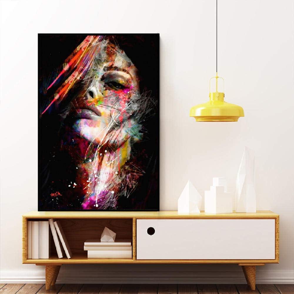 MEKVF Stampa su Tela Pittura A Olio su Tela Astratta Volto di Donna Quadri Colorati Immagini su Poster Stampe per///Soggiorno Decorazioni per La Casa Arte