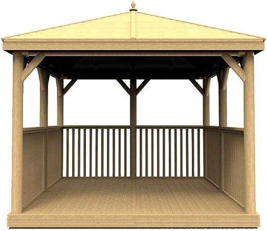 Cenador cuadrado de madera para jardín con techo de madera tradicional, con tratamiento de presión de 3, 5 m: Amazon.es: Jardín