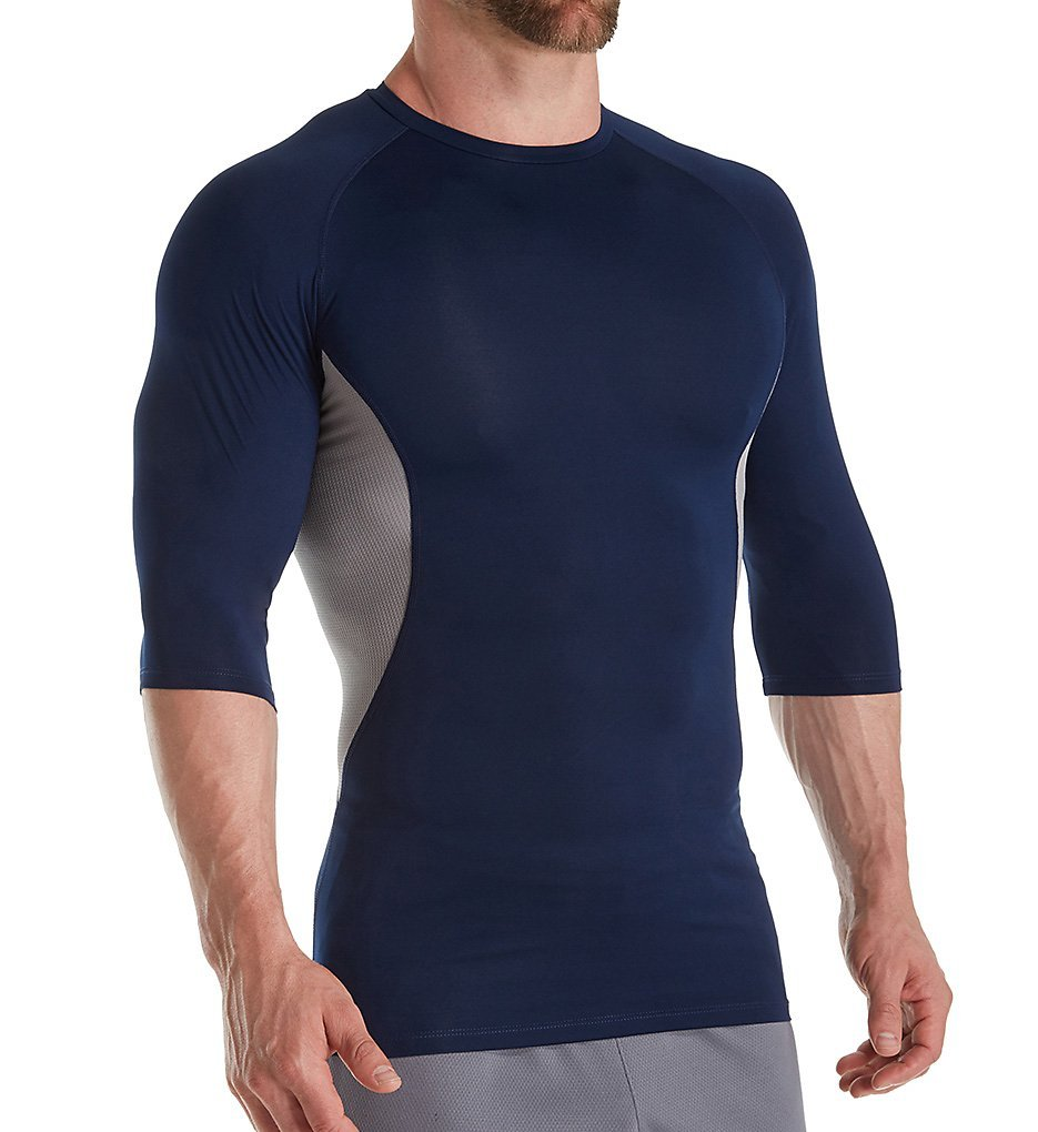 Russell Men's Half Sleeve Compression Shirt Navy/Grey 2XL by Russell Athletic