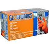 Ammex GWON46100 Nitrile Gloves Gloveworks Disposable, Powder Free, 8 mil, Large, Orange (Case of 1000)