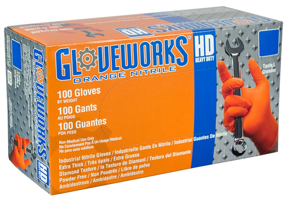 AMMEX - GWON48100-BX - Nitrile Gloves - Gloveworks - Heavy Duty, Disposable, Powder Free,  Latex Rubber Free, 8 mil, XLarge, Orange (Box of 100)
