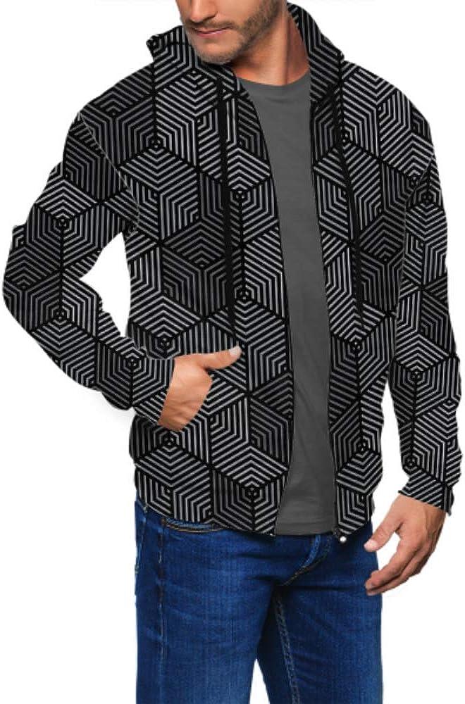 Long Sleeve Hoodie Print Black Gray Line Geometricmodern Stylish Jacket Zipper Coat Fashion Mens Sweatshirt Full-Zip S-3xl
