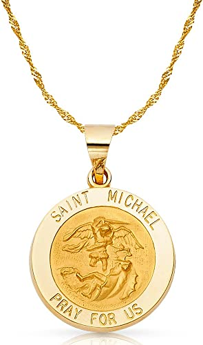 14k Yellow//White Gold St Height 18 MM Width 15 MM//Avg Weight 2 Grams Michael Religious Pendant