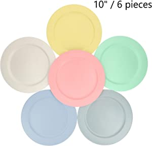 10 Inch Bamboo Fiber Plastic Plates (Set of 6 Dinner Plates) - Dishwasher & Microwave Safe - Unbreakable, Reusable, Lightweight, Eco-Friendly & BPA Free - For Kids, Toddlers & Adults - Assorted Colors