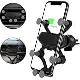 1PC 360 Degree Adjustable Black Car Phone Holder + 1PC 3 in 1 Magnetic Fast Charge LED Lighting Quick Connect 360 ° Visible Charger USB Cable (Compatible with Micro/iOS/Type-C USB)
