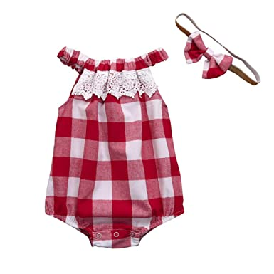 a939381f4 Xshuai for 0-18 Months Kids, 2Pcs Fashion Newborn Infant Baby Girl Plaid  Lace Romper Jumpsuit Headband Outfits Clothes (Red, 0-3 Months): Amazon.co. uk: ...