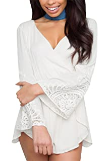 516c4143734 Amazon.com  vermers Summer Women Half Sleeve Jumpsuits Ladies Casual ...