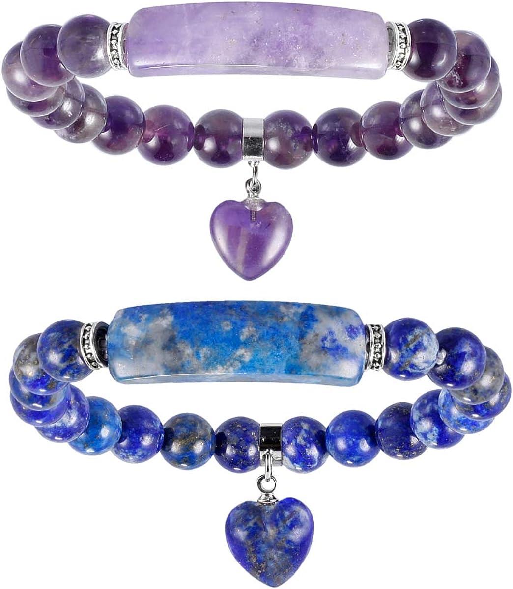 8MM Healing Stone Bracelets,Amethyst Natural Gemstone Charm Stretch Bracelet,Aventurine Jade Stretch Bracelet,Beads Chakra Crystal Energy Heart Charm Bracelet,Handmade Jewelry for Women
