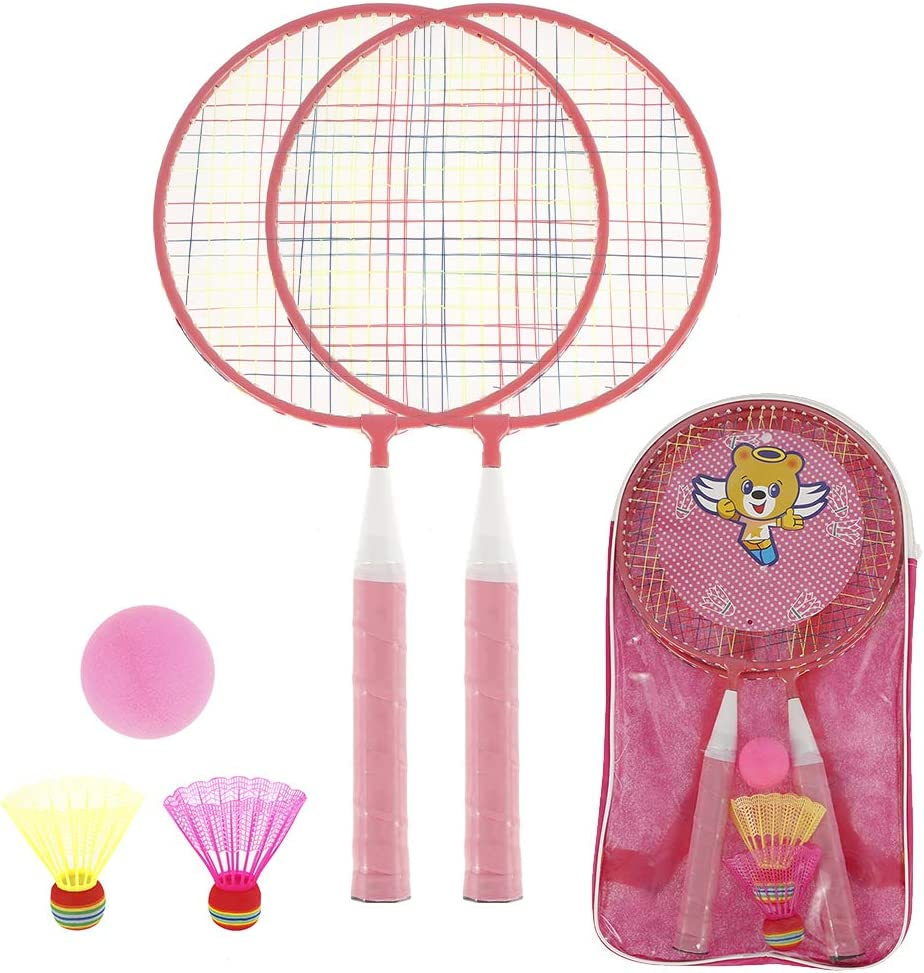 Yours Bath Kids Badminton Set 2 Rackets 3 Balls Childrens Lightweight Badminton Playing Toy 2 Player Sports Training Tool for Indoor Outdoor Garden Lawn beach with Carry Bag