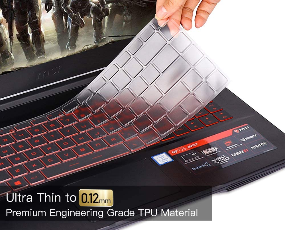 for MSI GS65 Keyboard Cover Skin, Ultra Thin Keyboard Cover Protective Skin for MSI GF63 PS63 P65 WP65 WS65 15 Inch/MSI PS42 14 Inch Gaming Laptop, Clear TPU Keyboard Cover Protector