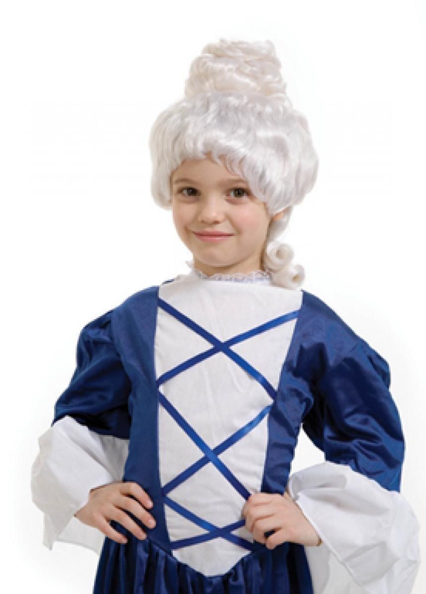 Qubeat Parrucche Bambini lungo bianco corrugato Carnevale Barocco Qubeat GmbH