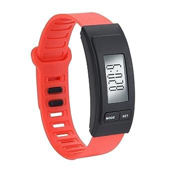 squarex Reloj de Pulsera Cuadrado para Hombre, con podómetro, Contador de calorías, Pantalla LCD Digital, Mujer, Rojo, AS Show: Amazon.es: Deportes y aire ...