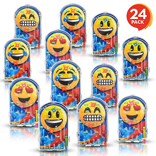Gamie Assorted Handheld Emoji Pinball Game (Pack of 24) Materials | Variety of Emoji Characters | Fashionably Fun Party Favor | Amazing Gift Idea for Boys and Girls Ages 3+ -