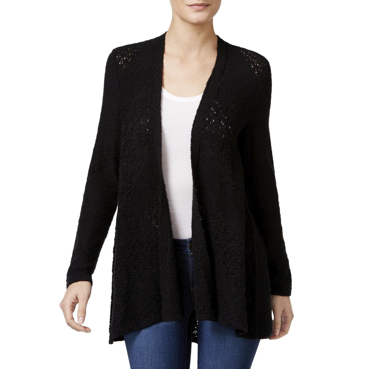 Style & Co. Womens Petites Knit Open Stitch Cardigan Sweater Black PP