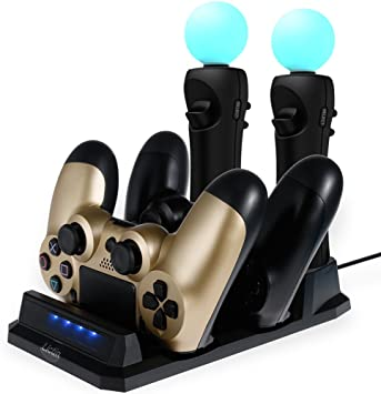 Lictin Base de Carga para Dos Controladores de Movimiento PS4/PSVR/Move Dual Shock 4 Controlador de Carga Playstation 4 USB estación de Carga con indicador LED 1 Cable USB (20 x 11) 20 * 11: Amazon.es: Electrónica